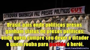 Faixa da Cut chamando os políticos presos de presos políticos.